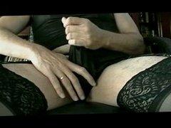 Panty Boy Stroking In All Black Lingerie & Panty - Part I