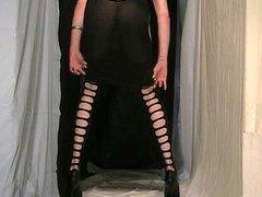 Fanny cd wearing a special black crossdresser dress