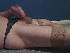 Jerk off in GF underwear