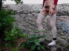Hairy bush crossdresser with legs on a tree!!!