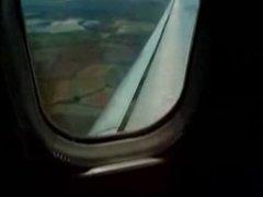 Real Female Masturbate in a full plane