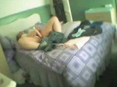 My chubby mum masturbates in her bed room. Hidden cam