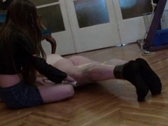 Feet slave under Teen Domina