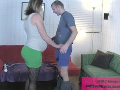 brother cums on pregnant gf belly handjob
