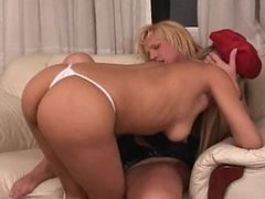 Hot Blond Tranny Fucking a Hot Girl