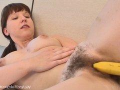 Mila T sure likes her bananas