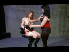 Lezdom Spank Toy And Electroplay In Latex