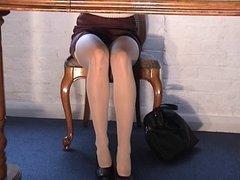 White stockings upskirt