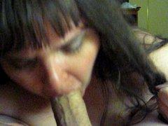 sub sucking my  cock