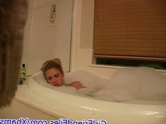 Hidden cam catches girl masturbating in bath