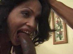 Shemale - Retro girl enjoys super huge cock