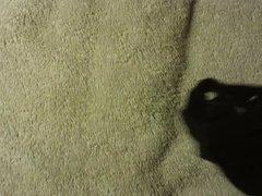 Black with metal rings thong cumshot