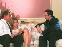 At once two guys for cute girl plays with doll