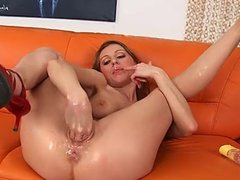 Olgas wet Pussy swollows her whole hand.
