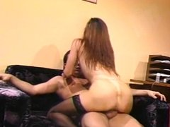 Brunette getting her pink pussy fucked