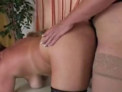 Mature Grannies in stockings give a hand