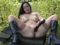 german slut with dildo outdoor