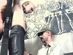 Two bound slaves get beaten and tortured