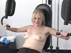Blond babe is fucking her pussy with dildo