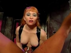 Big tits mistress butt-banging her slave with a strap-on