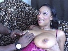 Ebony slut get fucked hard till cum on tits