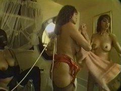 Three babes enjoy bondage in bathroom