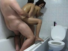 Old Guy has fun in the shower with 2 pattya bar girls