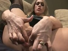 My Horny BLONDE fingers her tight pussy