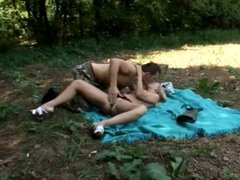 Hot blonde babe takes a load on her cute tits after being fucked outdoors