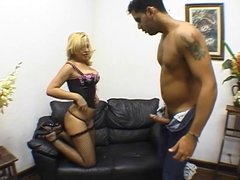 Blonde with big ass grinds guy's cock before giving him head