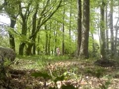 Nude in Public - Walking in woods