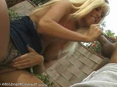 Hot Blonde on her knees and gave a hot handjob