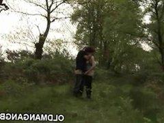 Gangbang on a grassy hill
