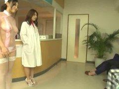 Two Japanese nurses slurp blowjob and cum extraction