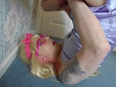 Slutty Tranny Supersatin cums in her own mouth and swallows!
