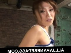 Ami Nagasaku in her cute white and blue outfit licked