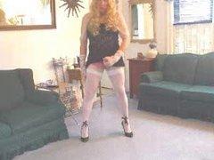 Crossdresser pink lace panties jerk off
