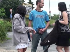 PUBLIC threesome sex with 2 girls PART 1