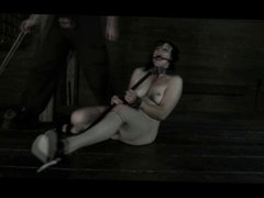 BDSM Slave Poppy James - Gag Whip Cane and Chains