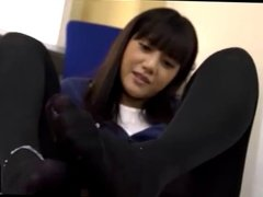Japanese girl gives legjob and footjob