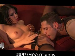 Horny young big-ass slutty brunette rides big-dick