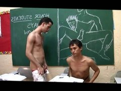 Two students fuck in a classroom