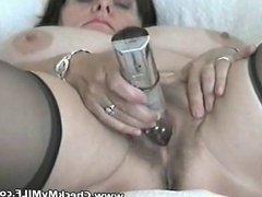Amateur BBW MILF with her toy