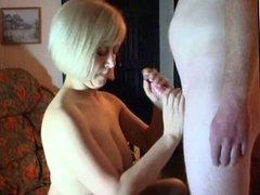 Cum on face after blowjob from blonde