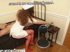 Nurse Ingrid jerks off bound slave