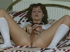 A slut plays with herself in various scenes