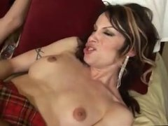 Gorgeous mature tranny gets fucked and cums