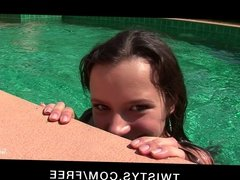 Twistys - Young teen brunette fingers herself by the pool