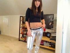 Girl in silver leggings