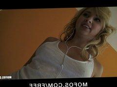 Stunning young blond babe Molly Bennett fucks roommate